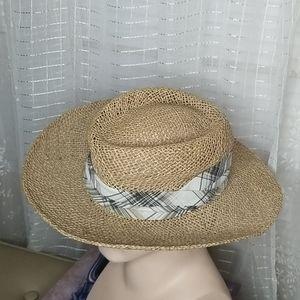 Vintage Straw Unisex Beige Hat W/ Sash